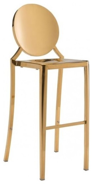 Round Back Polished Bar Stool Gold Stainless Steel contemporary bar stools and