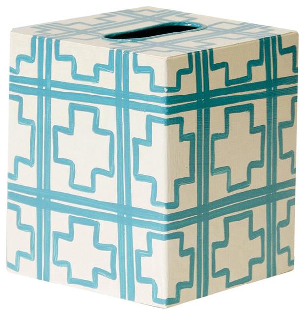 Worlds Away Kleenex Box Cream with Turquoise Squares