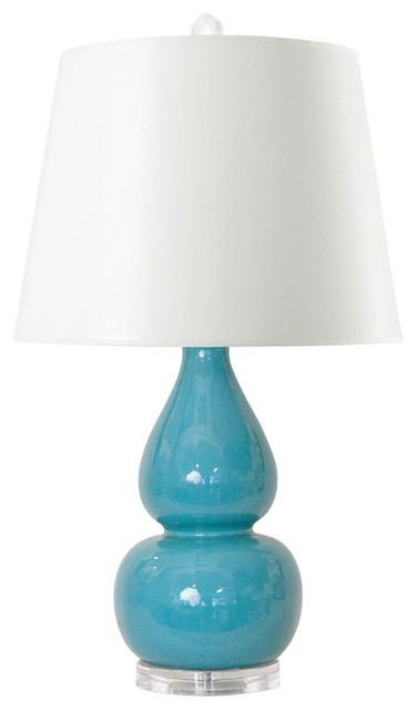 Emilia Turquoise Table Lamp With White Paper Shade By Bungalow