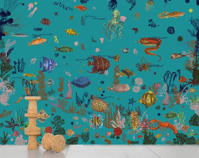 Domestic Sous La Mer Scenic Wallpaper, 8 Strips, Blue.
