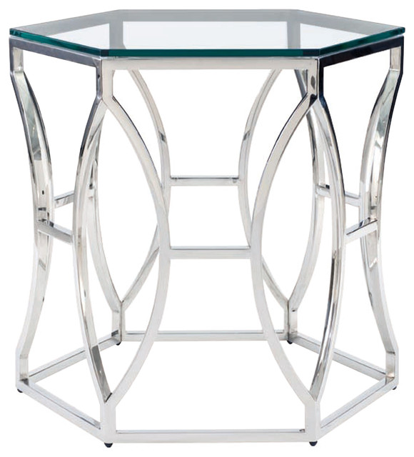 Marci Hollywood Regency Hexagon Polished Steel Side End Table