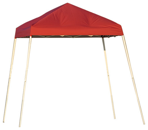 Shelterlogic Outdoor Travel Pop-Up Canopy Slant Leg 8 X 8 Ft With Carry Bag Red.