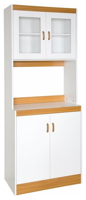 Tall Kitchen Storage Cabinet Cupboard With Microwave Space - Contemporary - Kitchen Cabinetry ...