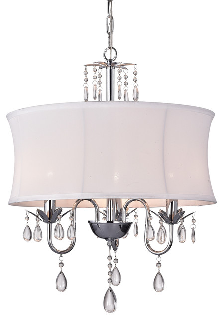 Edvivi 3 Light Crystal Chandelier With White Fabric Drum