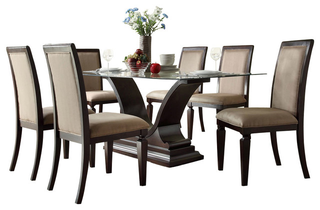 Homelegance plano 7 piece glass dining room set with u for U shaped dining room