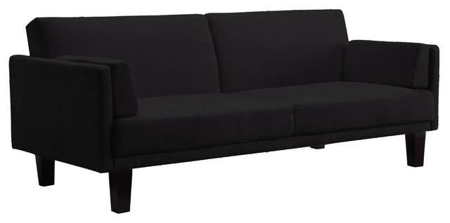 Black Microfiber Upholstered Sofa Bed