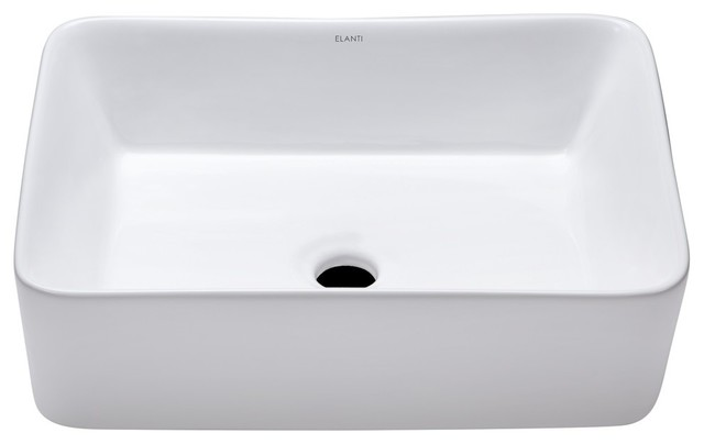 Elanti Collection Porcelain Tall Edge Deep Basin Rectangular Vessel Sink.