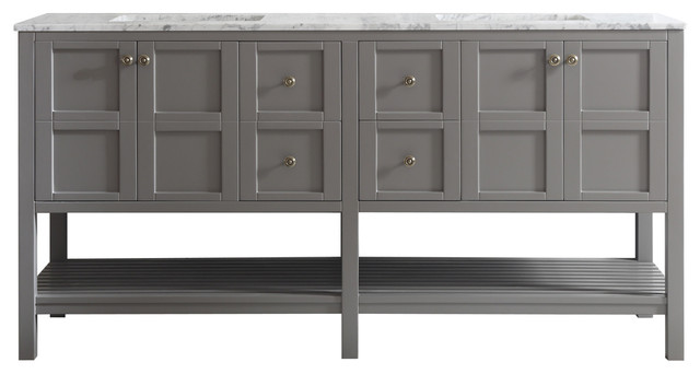 Florence 72 Double Vanity, Carrara White Marble Top, Gray, Without Mirror by Vinnova
