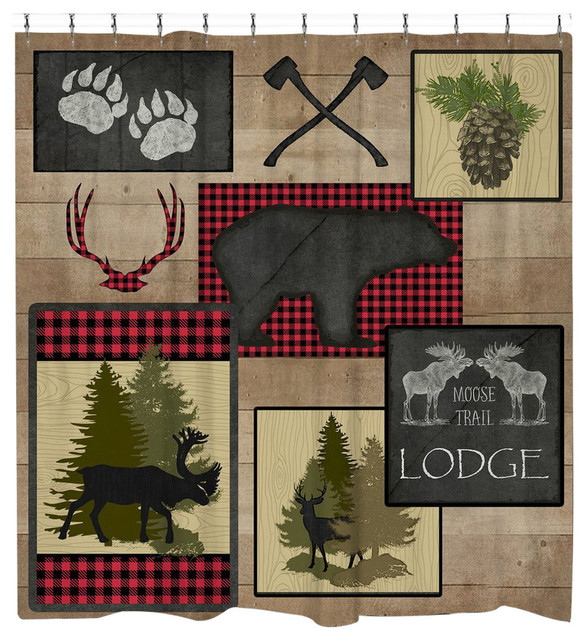 Laural Home Lumberjack Plaid Lodge Shower Curtain Rustic Shower Curtains
