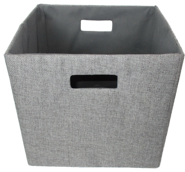Cube Collapsible Tote, Gray Canvas.