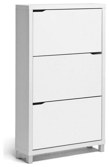 Bowery Hill Modern Shoe Cabinet In White Shoe Storage By Homesquare