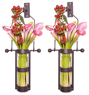 Danyab Wall Mount Hanging Glass Cylinder Vase Set With Metal Cradle and Hook - Industrial ...