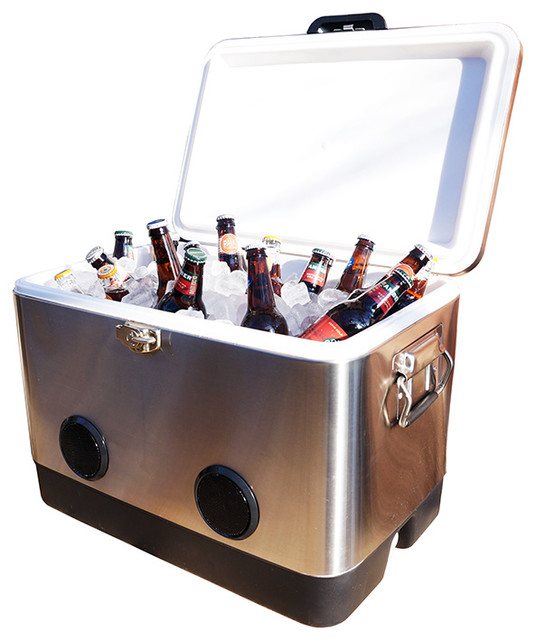 54qt Stainless Steel Party Cooler With Bluetooth Speakers