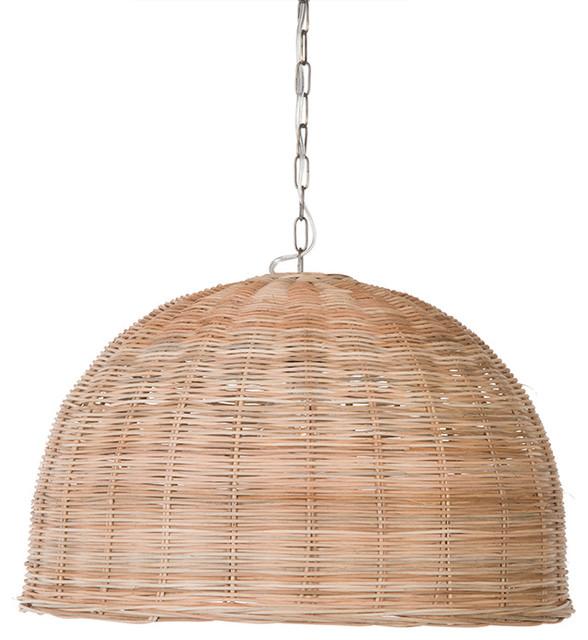 Panay Wicker Dome Pendant Lamp, Natural.