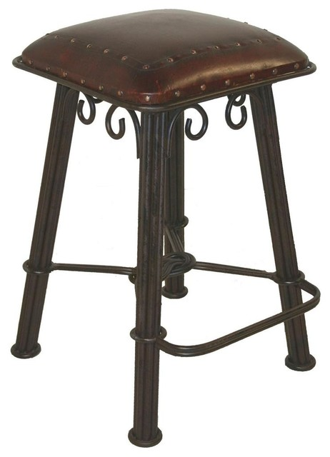 Western Barstool In Wrought Iron W Hand Tooled Leather Seat