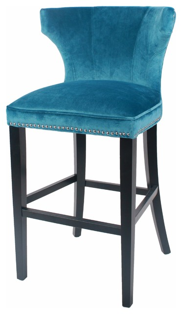 Dexter Velvet Fabric Bar Stool Black Legs Traditional  : traditional bar stools and counter stools from www.houzz.com size 372 x 640 jpeg 35kB