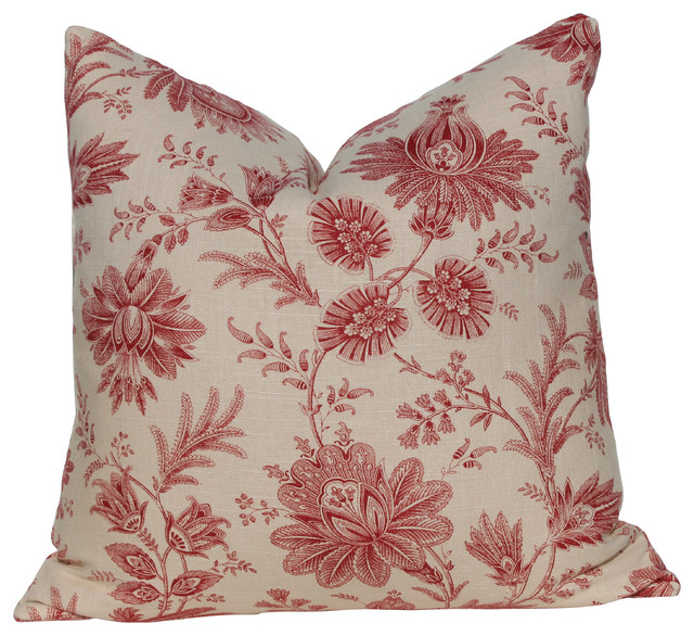 Cottage Cotton Pillow Cover, Red FlowersWith - Traditional - Decorative Pillows - by PillowFever