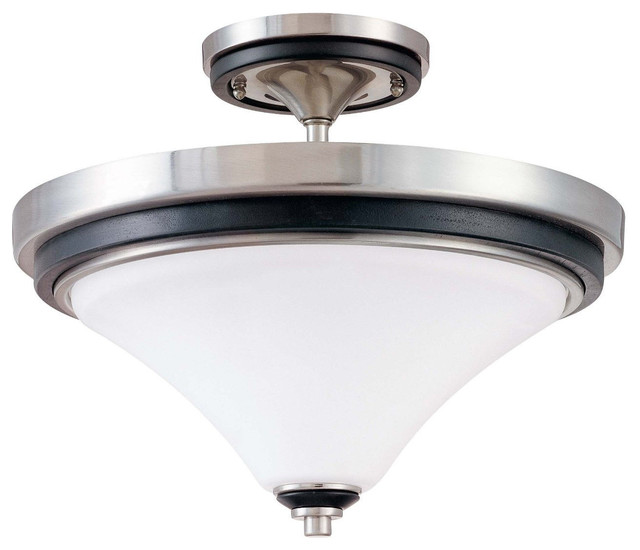 Brushed Nickel With Ebony Wood And Satin White Glass Semi Flush Ceiling Fixture Transitional