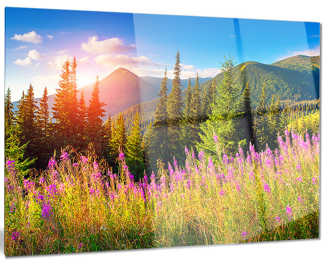 Metal Wall Art Mountain Landscapes : Quot mountains with pink flowers landscape metal wall art