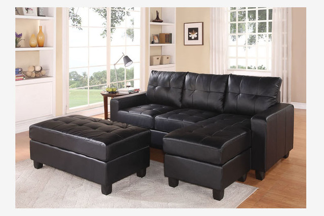Beautiful Acme Black Leather Sectional Sofa Reversible Chaise Ottoman Bed Modern  Contemporary Sectional Sofas