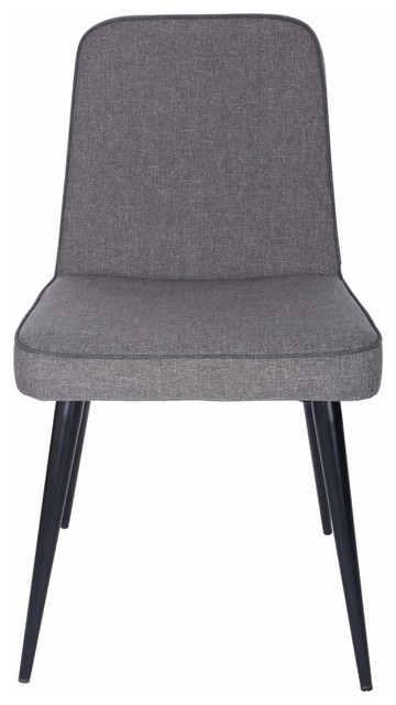 Euro Style Esmoriz Side Chair In Dark Gray And With Matte Black Legs, Set Of 2