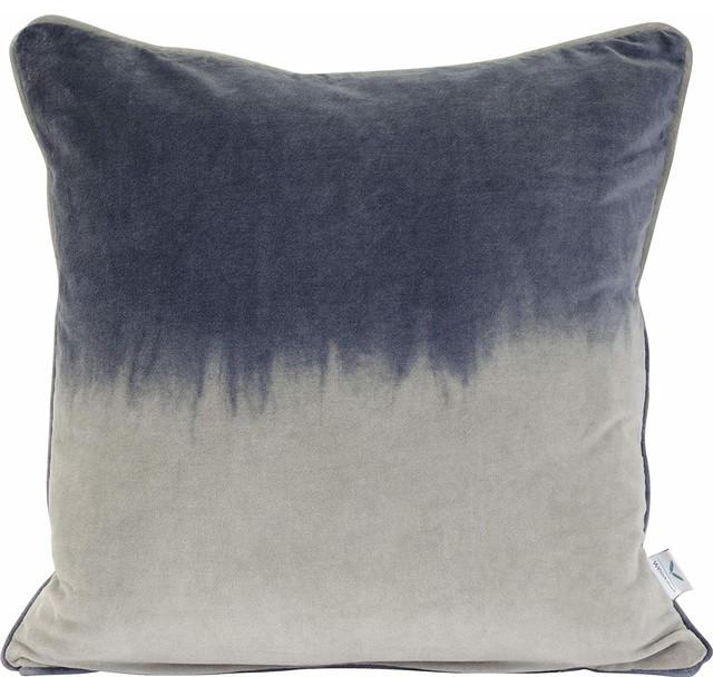 Velvet 2 Tone Blue Feather Filled Decorative Throw Pillow Cushion