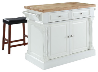 "Butcher Block Top Kitchen Island, White, 24"" Black Upholstered Saddle Stools"