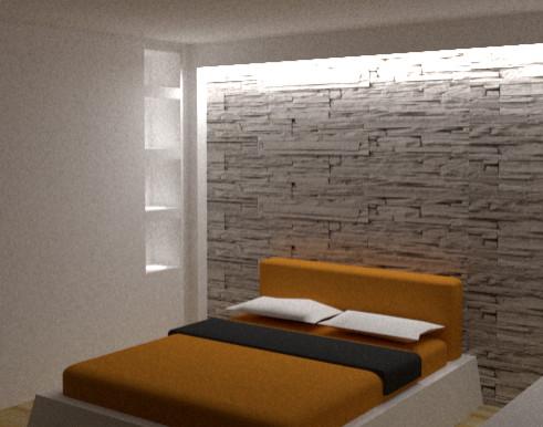 Render - Spazio camera, parete in pietra e gioco di riflessi