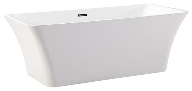 "Helixbath Parva Freestanding Acrylic Bathtub 67"" White With Rectangle Overflow."