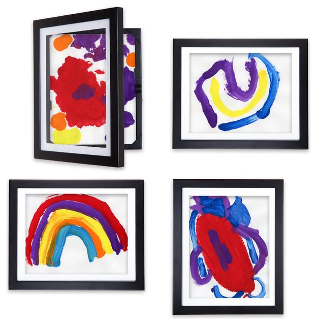 lil davinci art frames 4 piece set for 85x11 artwork black - Dynamic Frames