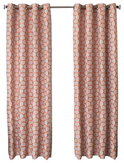 "Denell Grommet Top Curtains, Orange, 96""."