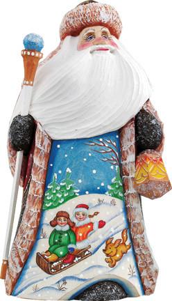 Downhill Race Santa, Woodcarved Figurine.