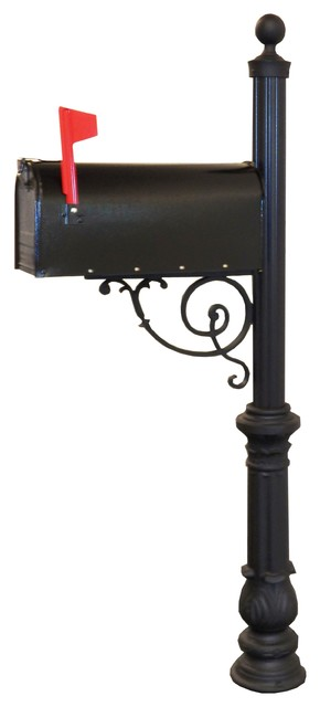 Premier Series Curbside Mailbox With Large Scroll and Charleston Base