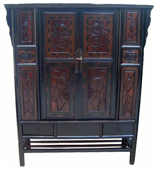 Consigned Antique, Cabinet With Carved Panel Doors ...