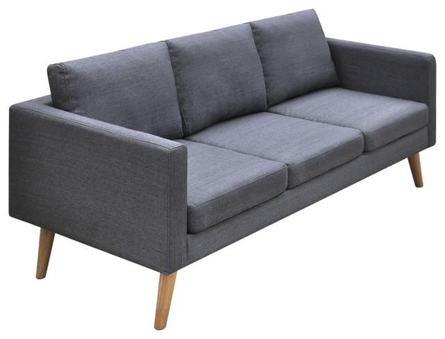Charmant VidaXL 3 Seater Sofa Fabric, Dark Gray