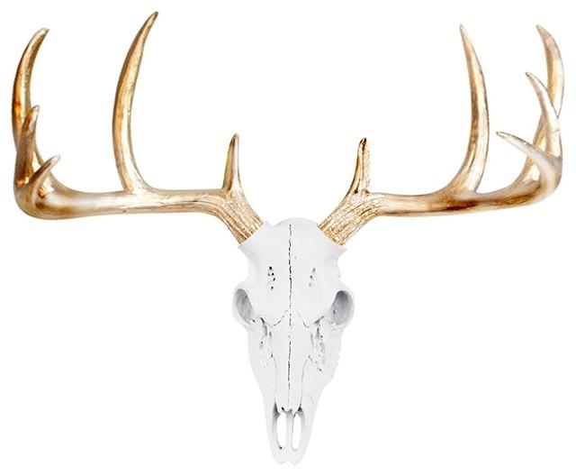 Faux Taxidermy Mini Deer Head Wall Mount Sculpture, White/gold.