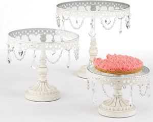 Jeweled Vintage French White Cake Stands traditional serveware