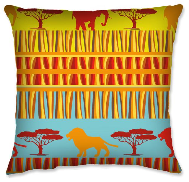 Throw Pillow 40X40 African Bright Safari Traditional Enchanting Safari Decorative Pillows