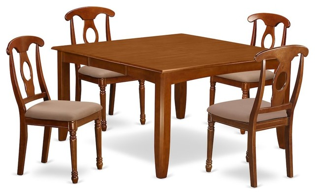 5-Piece Dining Room Set, Table, Leaf and 4 Dinette Chairs With Cushion by East West Furniture