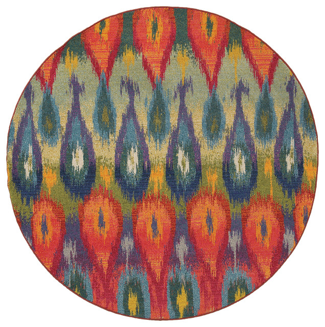 Rug Kaleidoscope Runner: Oriental Weavers Kaleidoscope 2061Z Multi/Red Abstract