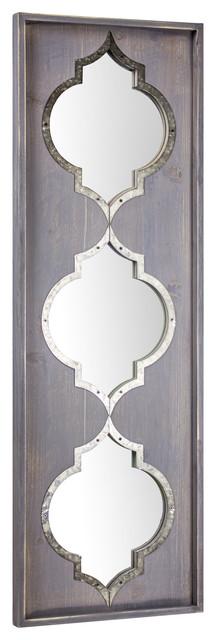 Whitewashed Farmhouse Wood Metal Wall Mirror.