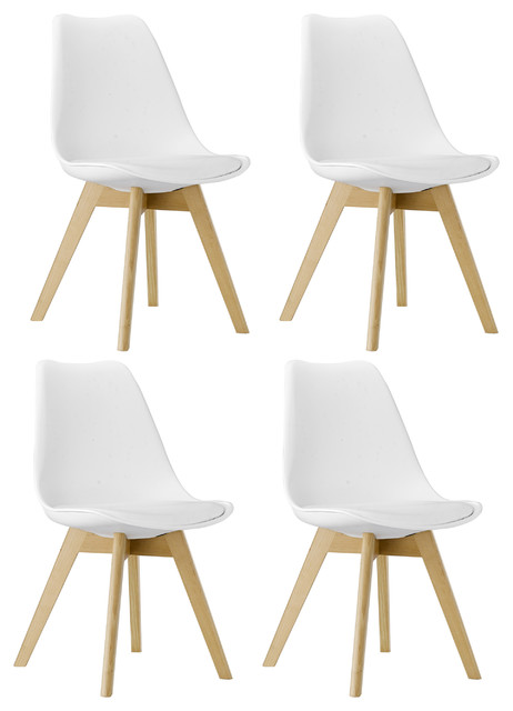 White Midcentury Tulip Upholstery Wood Leg Side Dining Chairs Set Of 4.
