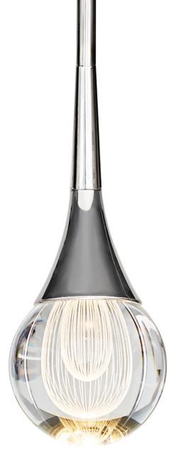 MOTINI Mini Crystal Teardrop Pendant Light, Polished-Nickel