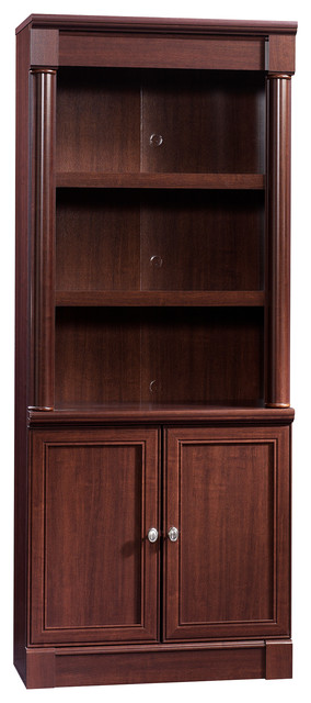 Sauder Palladia Library Bookcase with Doors in Cherry