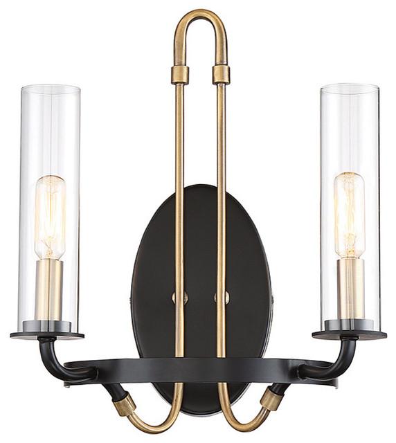 new arrival 31796 f6402 Kearney 2 Light Sconce, Vintage Black With Warm Brass
