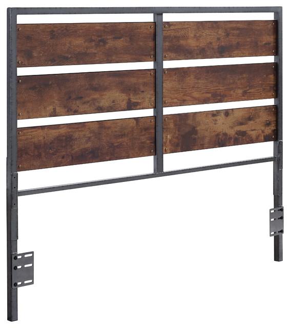 Queen Size Metal And Wood Panel Headboard Industrial