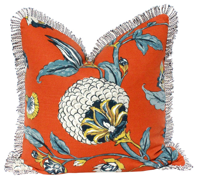 """Floral Cotton Pillow Cover With Braided Cotton Trim Navy/off White., 20""""x20""""."""