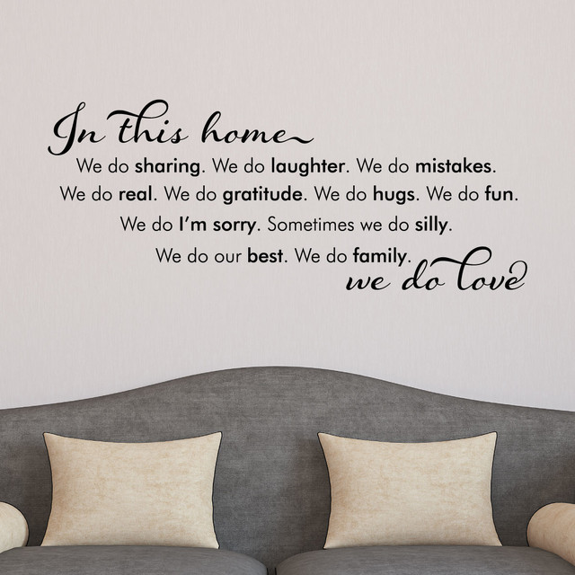 In This Home We Do Love Modern Script House Rules Wall Quotes - House rules wall decals