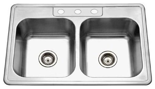 Deep Double Kitchen Sink  sc 1 st  Houzz & Glowtone 8 in. Deep Double Kitchen Sink - Contemporary - Kitchen ...