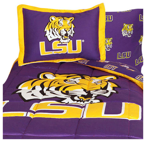 Ncaa Lsu Tigers Bedding Purple Collegiate Comforter Sheets